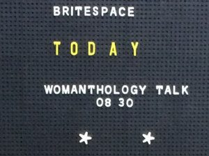 BriteSpace event Womanthology sign