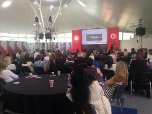 Talking about setting up Womanthology at Vodafone Women's Network event