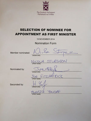 Nicola Sturgeon nomination form