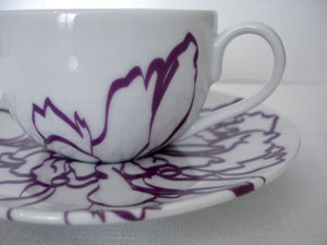 Jinny Ngui purple flower cup and saucer