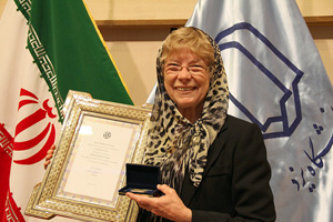 Cheryl receiving an honorary doctorate from Yazd University in Iran in 2015