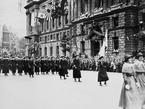 WWI Womens Royal Navy Service march down Whitehall - part of the Victory Parade July 1919