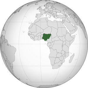 Nigeria on world map