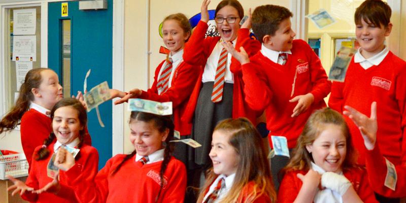 Children taking part in the Fiver Challenge