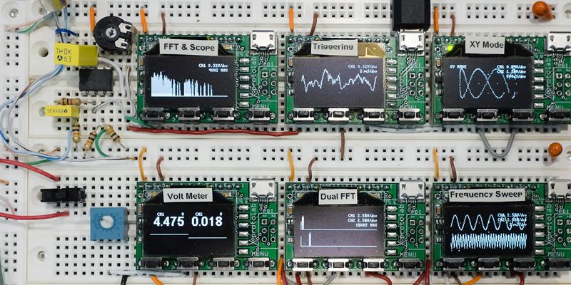 gabotronics oscilloscopes on a breadboard