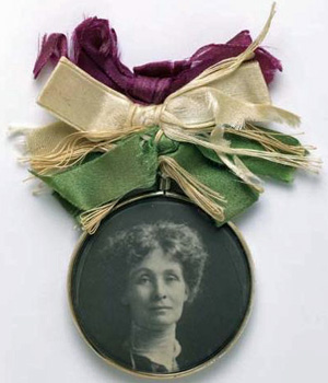 Portrait Badge of Emmeline Pankhurst c1909 - Museum of London
