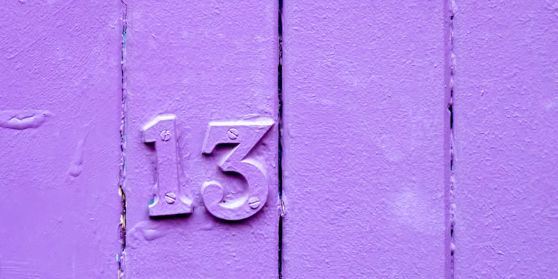 Number 13 sign