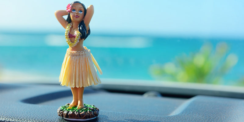 Hula girl on dashboard