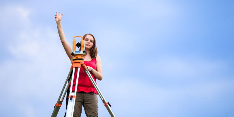 Woman surveying
