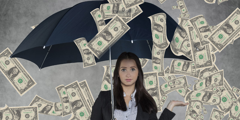 Woman showered with cash