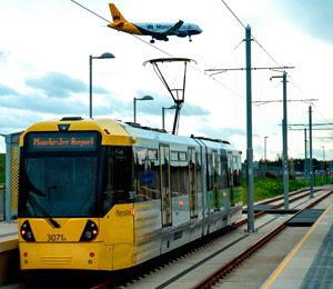 Tram at Manchester airport