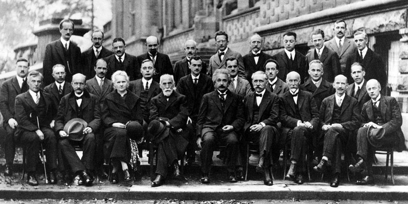 Marie Curie and colleagues, including Einstein