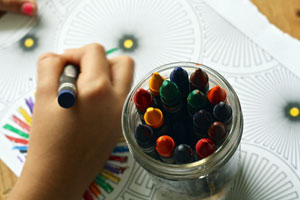 Colouring book and crayons