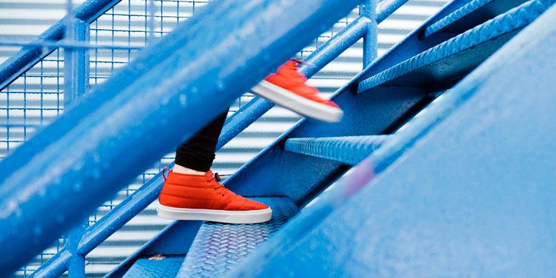 Feet climbing stairs