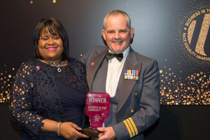 Sandra Kerr and one of the winner at the Business in the Community Race Equality Awards