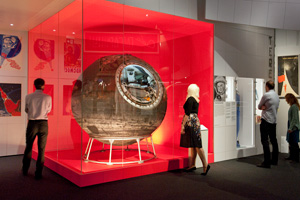 Visitors with Vostok 6 at the Cosmonauts exhibition at the Science Museum in London