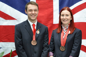 Andy-Smith-and-Robyn-Clarke of Toyota Manufacturing UK with their Medallions of Excellence from World-Skills