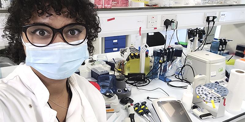 I'ah Donovan in lab